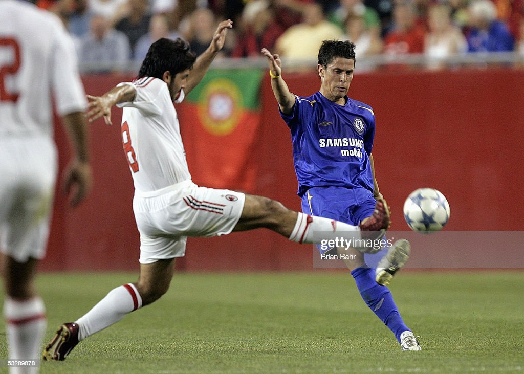 Asier Del Horno of Chelsea FC kicks the ball downfield against AC Milan during their World Series of Football friendly match on July 24, 2005 at Gillette Stadium in Foxboro, Massachusetts. Chelsea won 1-0.