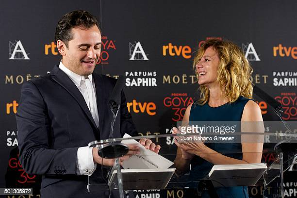 Asier Etxeandia and Emma Suarez attend to the 'Candidates to Goya Cinema Awards 2016' press conference at Academia de Cine on December 14 2015 in...