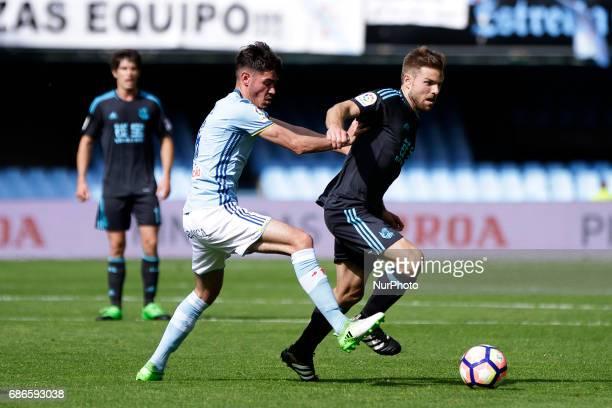Asier Illarramendi midfielder of Real Sociedad de Futbol battles for the ball with Jozabed Sanchez midfielder of Celta de Vigo during the La Liga...
