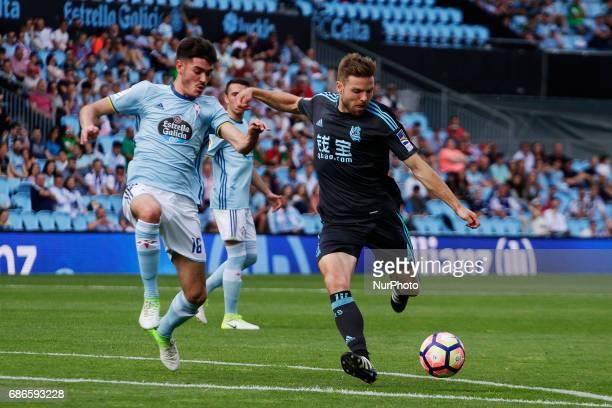 Asier Illarramendi midfielder of Real Sociedad de Futbol shoots on goal during the La Liga Santander match between Celta de Vigo and Real Sociedad de...