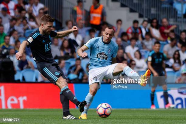 Asier Illarramendi midfielder of Real Sociedad de Futbol takes a shot during the La Liga Santander match between Celta de Vigo and Real Sociedad de...
