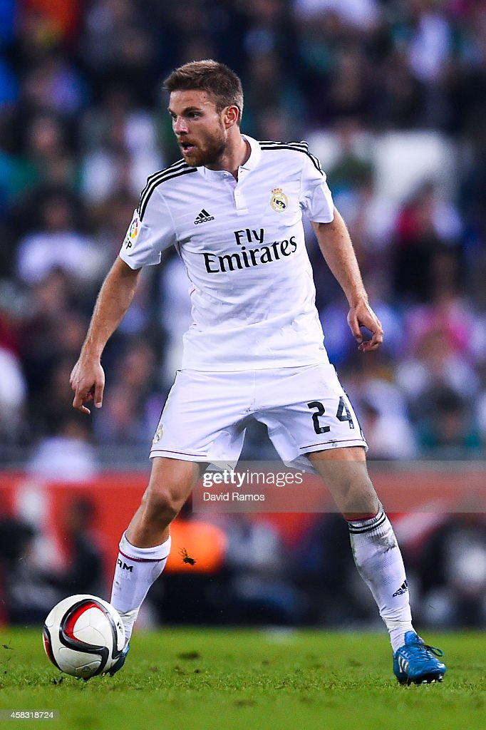 <a gi-track='captionPersonalityLinkClicked' href=/galleries/search?phrase=Asier+Illarramendi&family=editorial&specificpeople=9625979 ng-click='$event.stopPropagation()'>Asier Illarramendi</a> of Real Madrid CF during the Copa Del Rey Round of 32 first leg match at Power8 Stadium on October 29, 2014 in Barcelona, Spain.