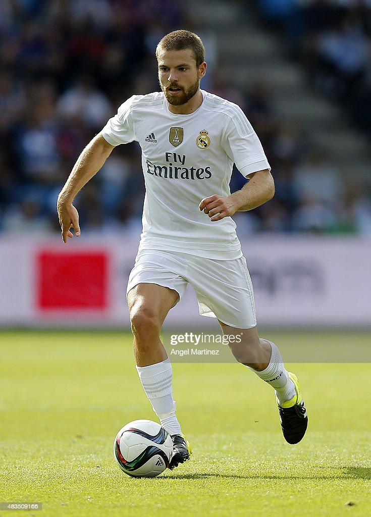 <a gi-track='captionPersonalityLinkClicked' href=/galleries/search?phrase=Asier+Illarramendi&family=editorial&specificpeople=9625979 ng-click='$event.stopPropagation()'>Asier Illarramendi</a> of Real Madrid in action during the pre-season friendly match between Valerenga and Real Madrid at Ullevaal Stadion on August 9, 2015 in Oslo, Norway.