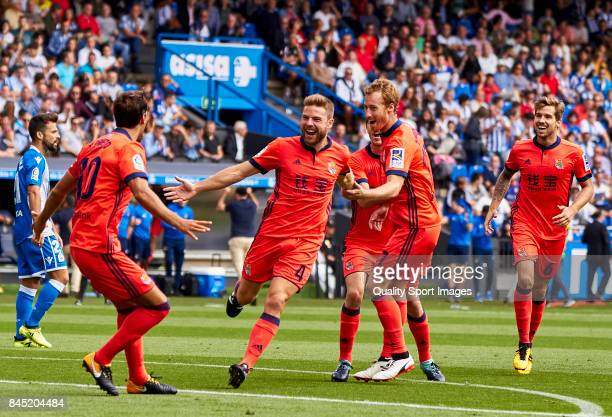 Asier Illarramendi of Real Sociedad celebrates after scoring the second goal during the La Liga match between Deportivo La Coruna and Real Sociedad...