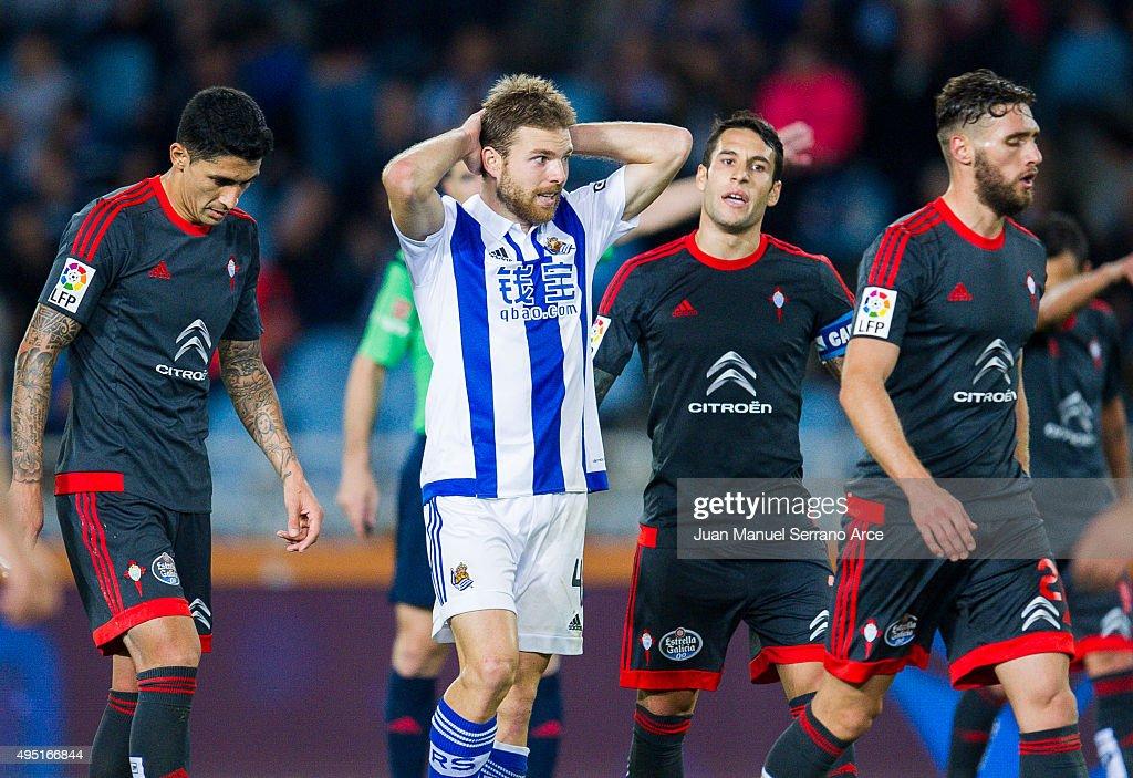 <a gi-track='captionPersonalityLinkClicked' href=/galleries/search?phrase=Asier+Illarramendi&family=editorial&specificpeople=9625979 ng-click='$event.stopPropagation()'>Asier Illarramendi</a> of Real Sociedad reacts during the La Liga match between Real Sociedad de Futbol and Celta de Vigo de Futbol at Estadio Anoeta on October 31, 2015 in San Sebastian, Spain.