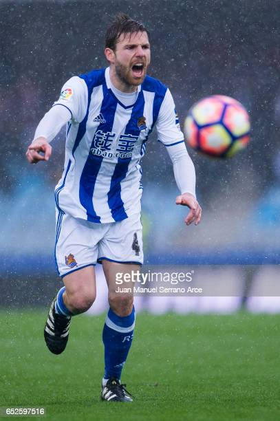 Asier Illarramendi of Real Sociedad reacts during the La Liga match between Real Sociedad de Futbol and Athletic Club Bilbao at Estadio Anoeta on...
