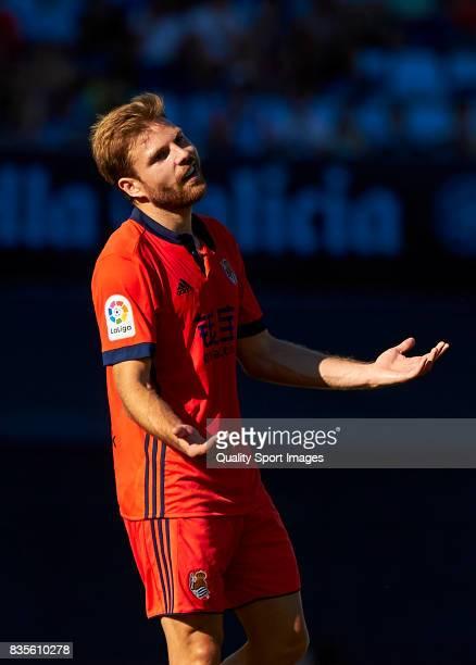 Asier Illarramendi of Real Sociedad reacts during the La Liga match between Celta de Vigo and Real Sociedad at Balaidos Stadium on August 19 2017 in...
