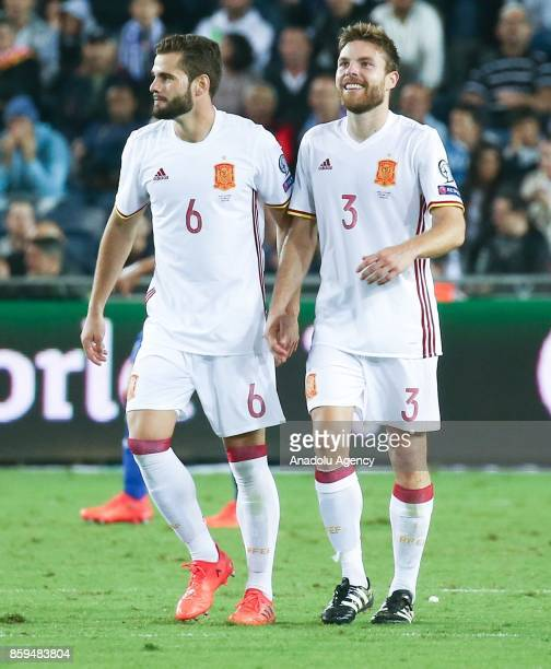 Asier Illarramendi of Spain celebrates his goal with his team mate during the 2018 FIFA World Cup European Group G qualifying football match between...