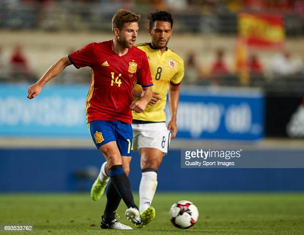 Asier Illarramendi of Spain competes for the ball with Abel Aguilar of Colombia during the international friendly match between Spain and Colombia at...