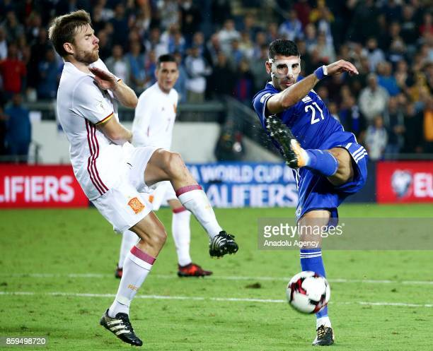 Asier Illarramendi of Spain in action against Eytan Tibi of Israel during the 2018 FIFA World Cup European Group G qualifying football match between...
