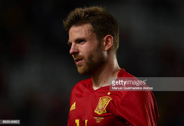 Asier Illarramendi of Spain reacts after the international friendly match between Spain and Colombia at Nueva Condomina Stadium on June 7 2017 in...