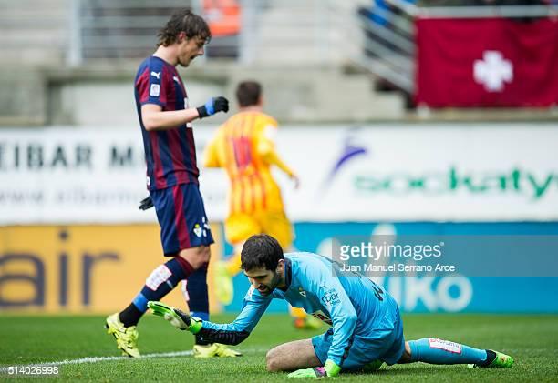 Asier Riesgo of SD Eibar reacts during the La Liga match between SD Eibar and FC Barcelona at Ipurua Municipal Stadium on March 6 2016 in Eibar Spain