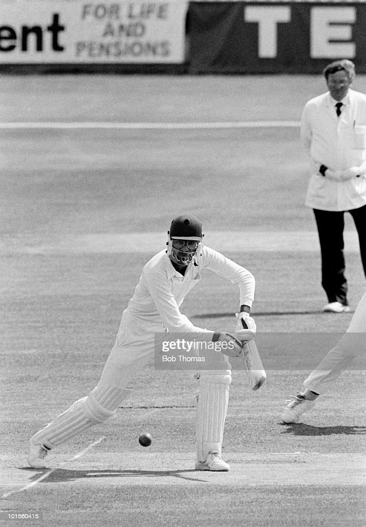 Asif Din batting for Warwickshire against Lancashire during their County Chamnpionship cricket match held at Edgbaston, Birmingham on 26th July 1986. The match ended in a draw. (Bob Thomas/Getty Images).