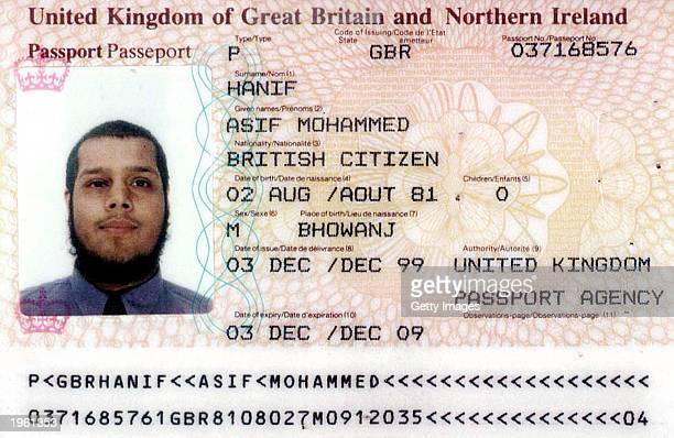 Asif Mohammed Hanif's British passport is seen in this image distributed by Israel's police and Shin Bet secret service April 30 in Tel Aviv The...