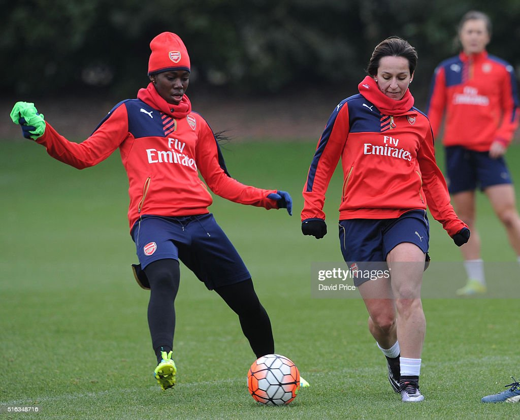 Asisat Oshoala and Marta Corredera Sanchon of Arsenal Ladies during the Arsenal Ladies Training Session at London Colney on March 10, 2016 in St Albans, England.
