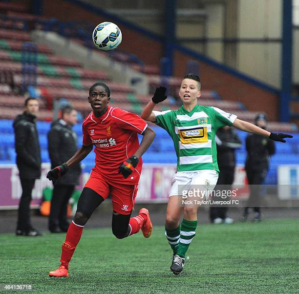 Asisat Oshoala of Liverpool Ladies and Paige Stewart of Yeovil Town Ladies in action during the preseason friendly between Liverpool Ladies and...