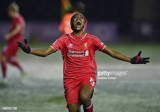 Asisat Oshoala of Liverpool Ladies celebrates after scoring the opening goal during the WSL match between Liverpool Ladies and Birmingham City Ladies...