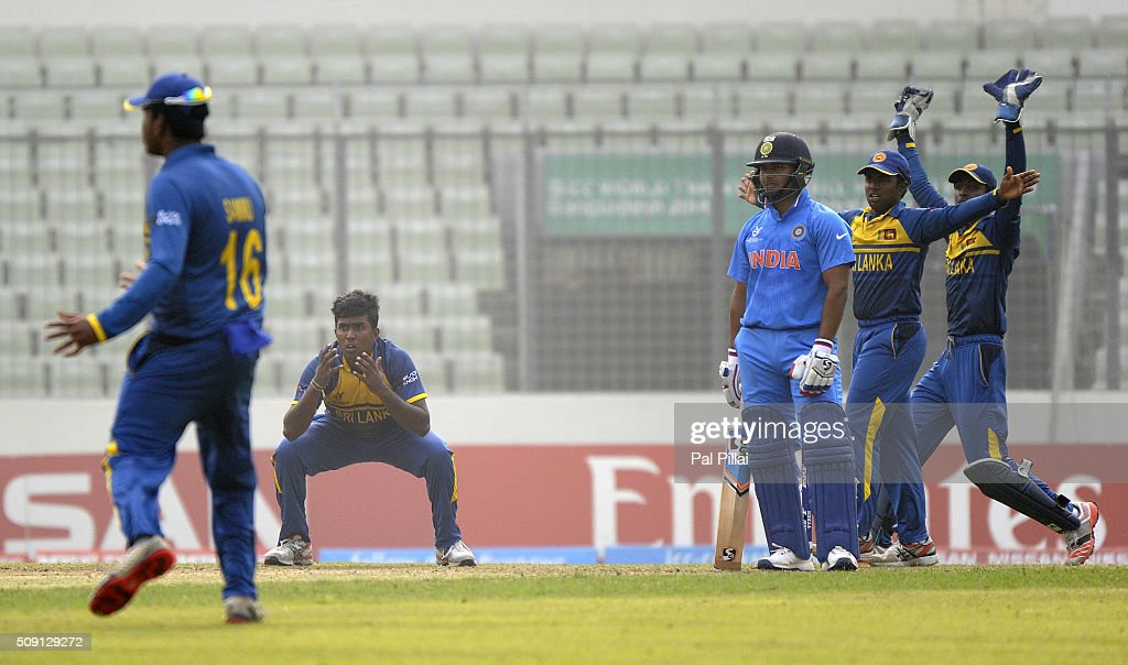 Asitha Fernando of Sri Lanka appeals for the wicket of Rishabh Pant of India during the ICC U19 World Cup Semi-Final match between India and Sri Lanka on February 9, 2016 in Dhaka, Bangladesh.