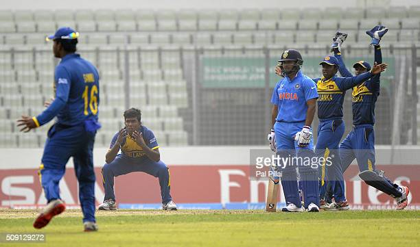 Asitha Fernando of Sri Lanka appeals for the wicket of Rishabh Pant of India during the ICC U19 World Cup SemiFinal match between India and Sri Lanka...