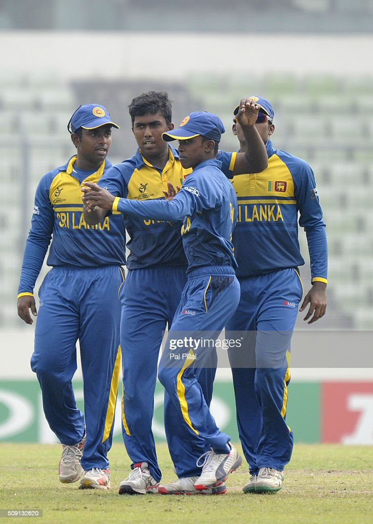 Asitha Fernando of Sri Lanka celebrates the wicket of Sarfaraz Khan of India during the ICC U19 World Cup Semi-Final match between India and Sri Lanka on February 9, 2016 in Dhaka, Bangladesh.