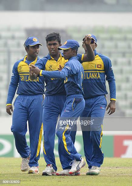 Asitha Fernando of Sri Lanka celebrates the wicket of Sarfaraz Khan of India during the ICC U19 World Cup SemiFinal match between India and Sri Lanka...
