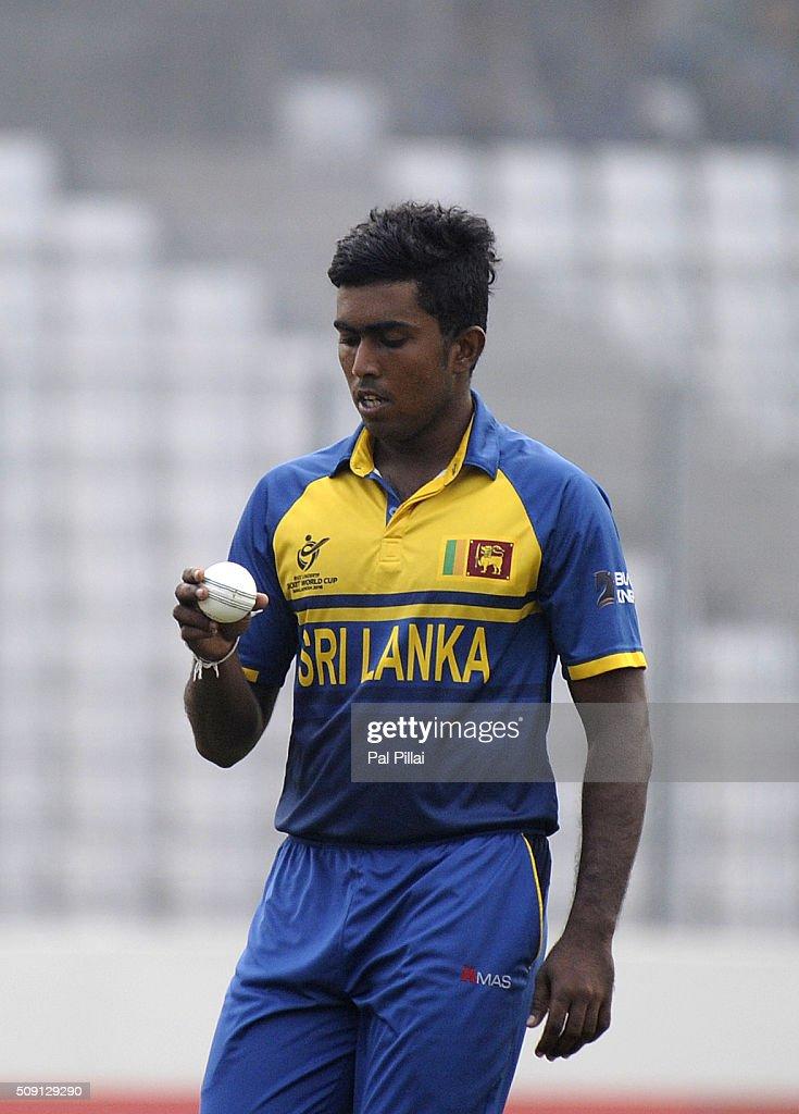 Asitha Fernando of Sri Lanka prepares to bowl during the ICC U19 World Cup Semi-Final match between India and Sri Lanka on February 9, 2016 in Dhaka, Bangladesh.