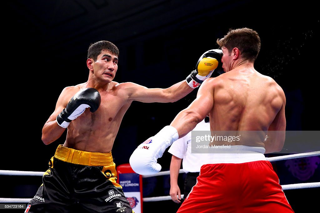 Aslanbek Shymbergenov of Astana Arlans (L) in action against Joshua Kelly of British Lionhearts (R) in the semi-final of the World Series of Boxing between the British Lionhearts and Kazakhstan at York Hall on May 27, 2016 in London, England.