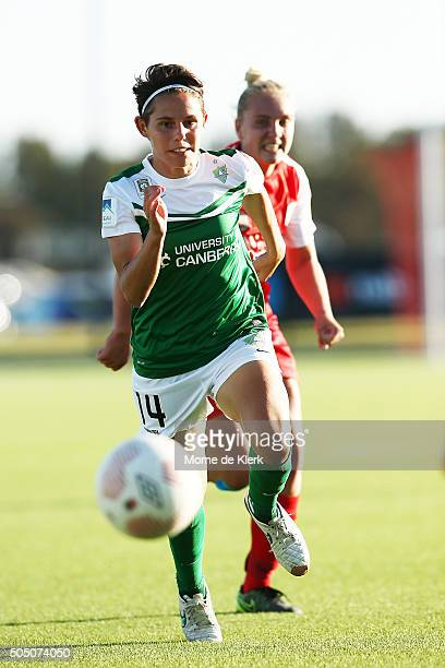 Asleigh Sykes of Canberra competes for the ball during the round 14 WLeague match between Adelaide United and Canberra United at the Adelaide Shores...