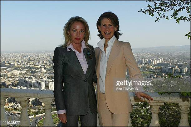 Asma Al Assad receives Duchess Camilla in her office in Damas Syria on March 22 2004