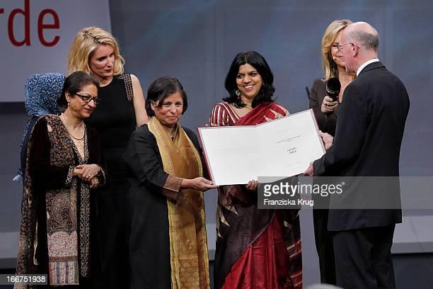 Asma Jahangir Maria Furtwaengler Suneeta Dhar Kalpana Viswanath Nina Ruge and Norbert Lammert attend the 'Roland Berger Human Dignity Award' ceremony...
