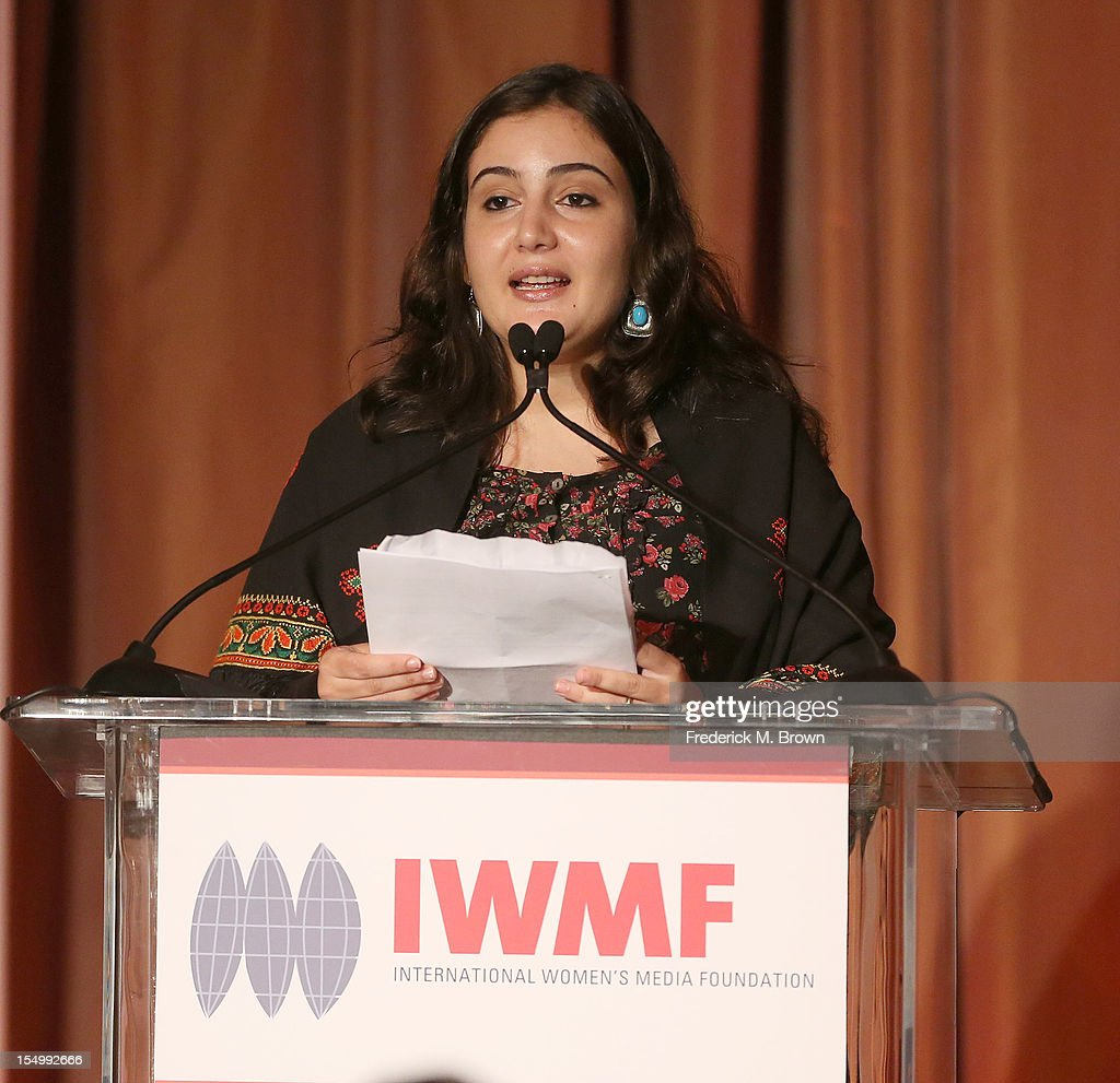 Asmaa al-Ghoul speaks during the 2012 International Women's Media Foundation's Courage In Journalism Awards at The Beverly Hills Hotel on October 29, 2012 in Beverly Hills, California.