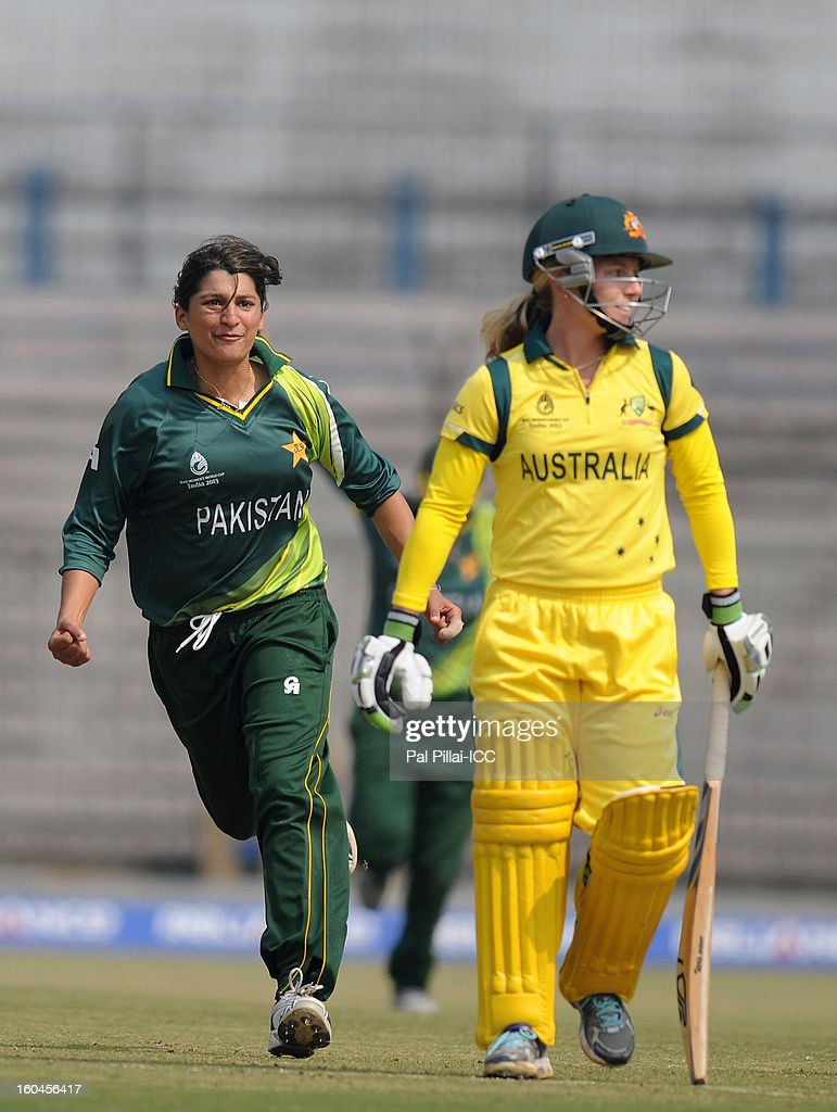 Asmavia Iqbal of Pakistan celebrates the wicket of Jodie Fields of Australia during the second match of ICC Womens World Cup between Australia and Pakistan, played at the Barabati stadium on February 1, 2013 in Cuttack, India.