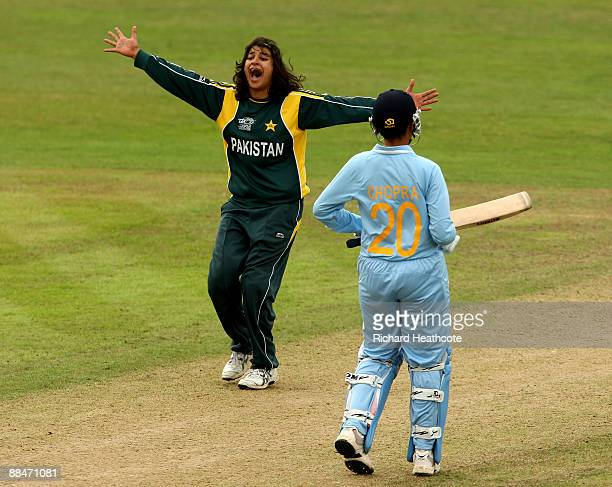 Asmavia Iqbal of Pakistan sucessfully appeals for an LBW against Rumeli Dhar of India during the ICC Women's Twenty20 World Cup match between India...