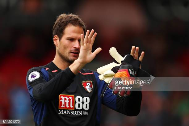 Asmir Begovic of AFC Bournemouth leaves the pitch as he is substituted during the preseason friendly match between AFC Bournemouth and Valencia CF at...