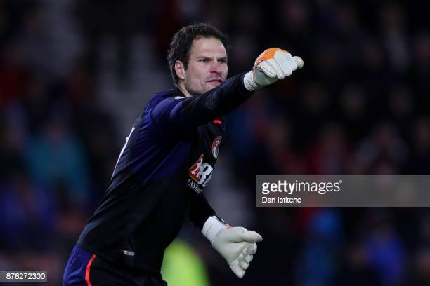 Asmir Begovic of Bournemouth reacts during the Premier League match between AFC Bournemouth and Huddersfield Town at Vitality Stadium on November 18...