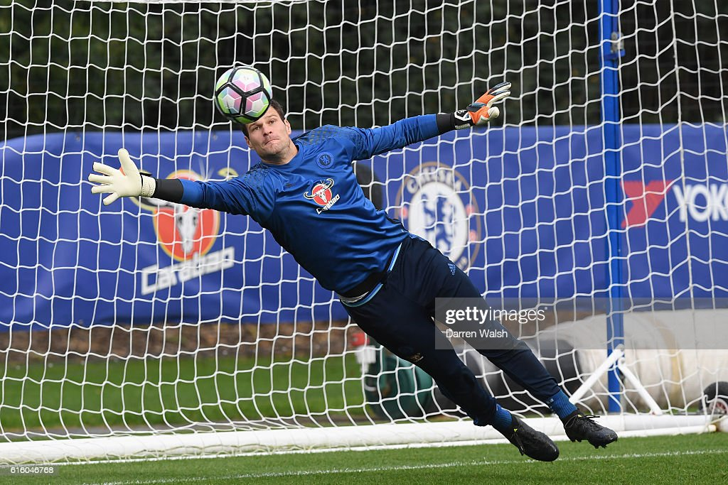 Asmir Begovic of Chelsea during a training session at Chelsea Training Ground on October 21, 2016 in Cobham, England.
