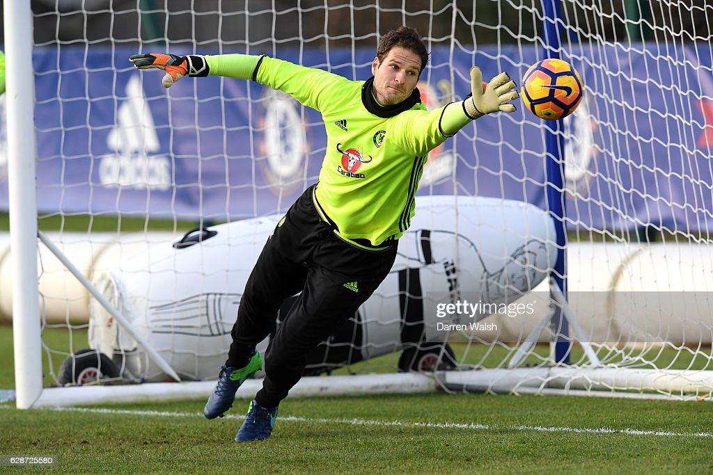 Asmir Begovic of Chelsea during a training session at Chelsea Training Ground on December 9, 2016 in Cobham, England.