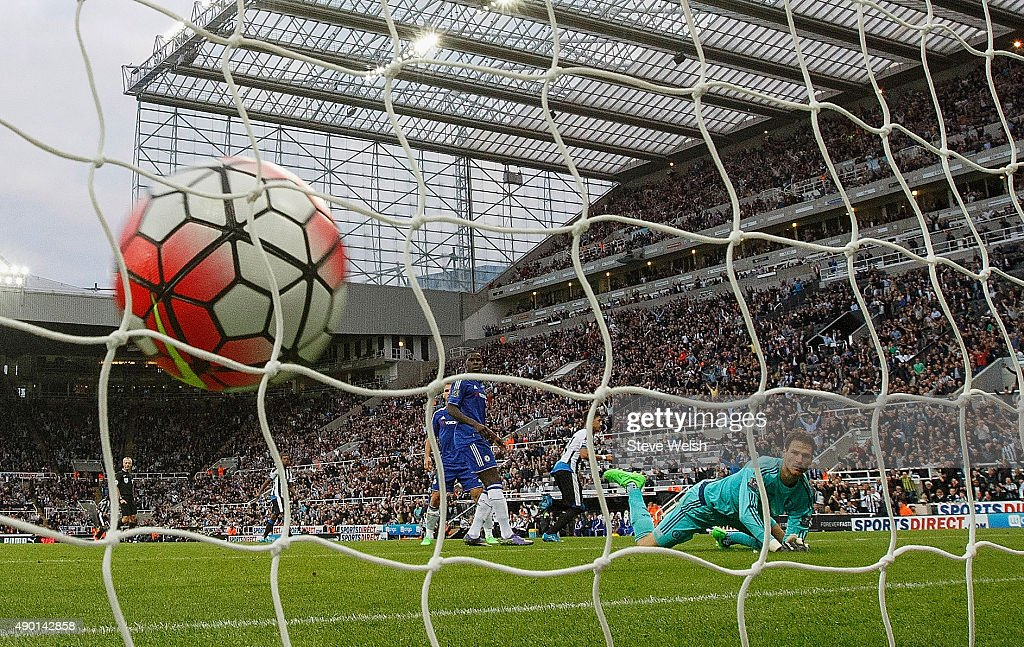 Asmir Begovic of Chelsea watches the ball hit the net after Ayoze Perez of Newcastle United scored the opener during the Barclays Premier League...