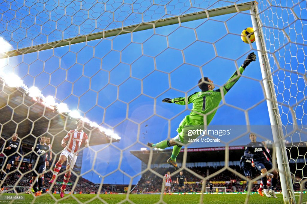 Asmir Begovic of Stoke City makes a save during the Barclays Premier League match between Stoke City and Manchester United at Britannia Stadium on February 1, 2014 in Stoke on Trent, England.