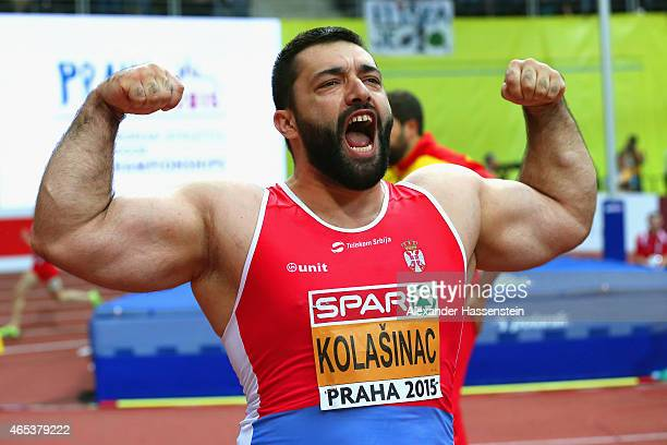 Asmir Kolasinac of Serbia celebrates in the Men's Shot Put Final during day one of the 2015 European Athletics Indoor Championships at O2 Arena on...