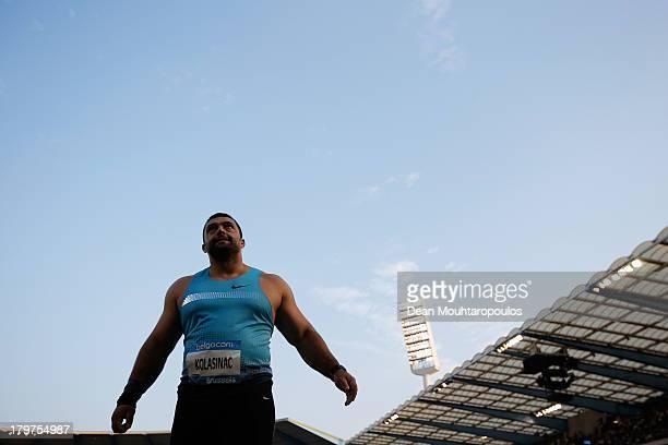 Asmir Kolasinac of Serbia competes in the Mens Shot Put during the 2013 Belgacom Memorial Van Damme IAAF Diamond League meet at The King Baudouin...