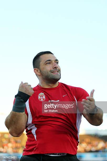 Asmir Kolasinac of Serbia competes in the Men's Shot Put Final during day three of the 21st European Athletics Championships at the Olympic Stadium...