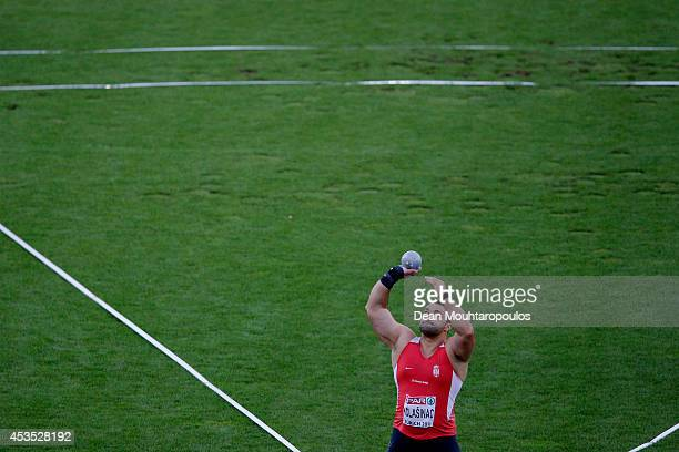 Asmir Kolasinac of Serbia competes in the Men's Shot Put final during day one of the 22nd European Athletics Championships at Stadium Letzigrund on...
