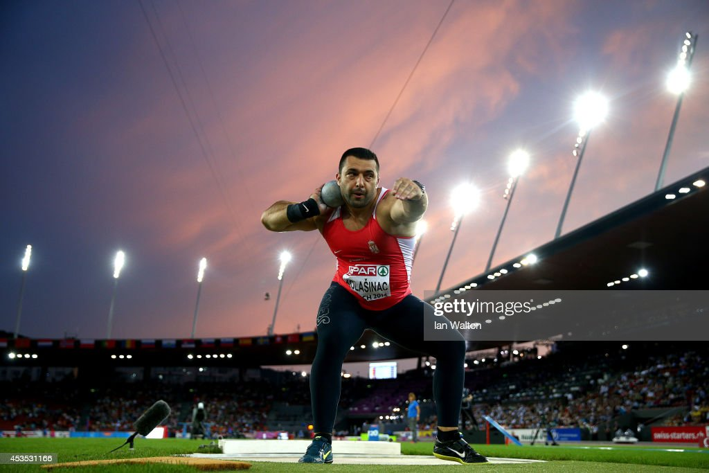 <a gi-track='captionPersonalityLinkClicked' href=/galleries/search?phrase=Asmir+Kolasinac&family=editorial&specificpeople=6836640 ng-click='$event.stopPropagation()'>Asmir Kolasinac</a> of Serbia competes in the Men's Shot Put final during day one of the 22nd European Athletics Championships at Stadium Letzigrund on August 12, 2014 in Zurich, Switzerland.