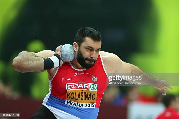 Asmir Kolasinac of Serbia competes in the Men's Shot Put Final during day one of the 2015 European Athletics Indoor Championships at O2 Arena on...