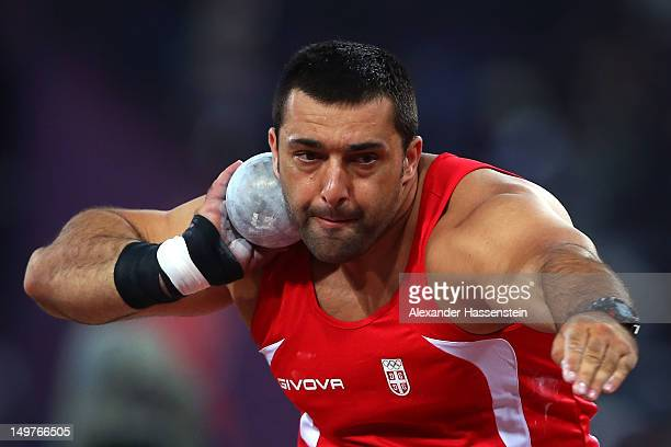Asmir Kolasinac of Serbia competes in the Men's Shot Put Final on Day 7 of the London 2012 Olympic Games at Olympic Stadium on August 3 2012 in...