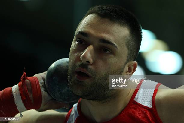Asmir Kolasinac of Serbia competes in the Men's Shot Put Finalduring day one of the European Athletics Indoor Championships at Scandinavium on March...