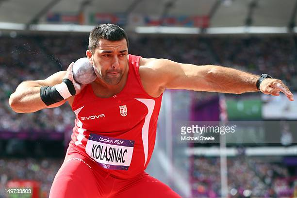 Asmir Kolasinac of Serbia competes in the Men's Shot Put qualification on Day 7 of the London 2012 Olympic Games at Olympic Stadium on August 3 2012...
