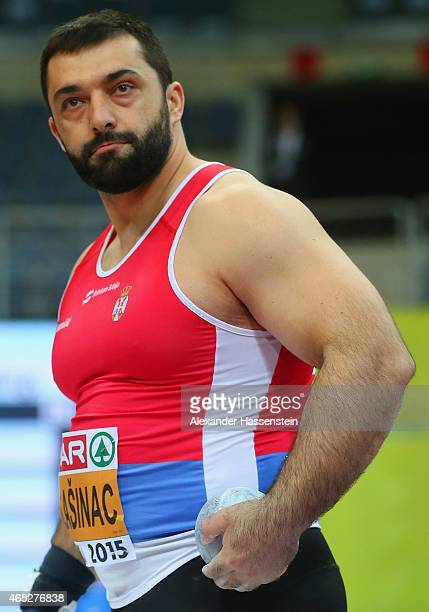 Asmir Kolasinac of Serbia competes in the Men's Shot Put qualification during 2015 European Athletics Indoor Championships at O2 Arena on March 5...