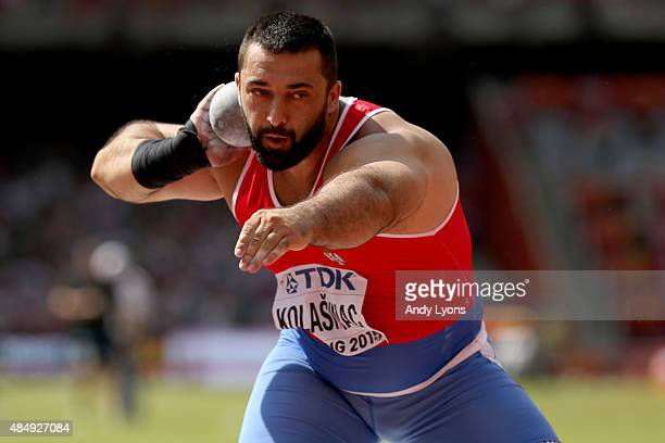 Asmir Kolasinac of Serbia competes in the Men's Shot Put qualification during day two of the 15th IAAF World Athletics Championships Beijing 2015 at...
